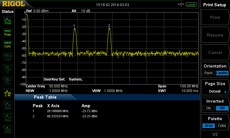 Crystal Filter on the Spectrum Analyzer